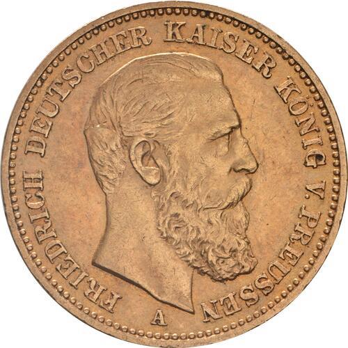 Vorderseite:Deutschland : 20 Mark Friedrich winz. Kratzer 1888 vz.