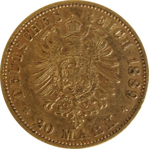 Rückseite :Deutschland : 20 Mark  winz. Kratzer 1889 ss.