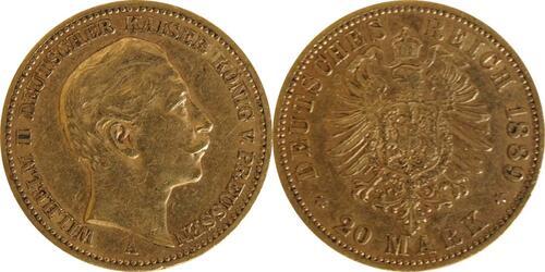 Lieferumfang :Deutschland : 20 Mark  winz. Kratzer 1889 ss.