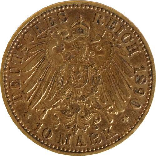 Rückseite:Deutschland : 10 Mark   1890 ss.
