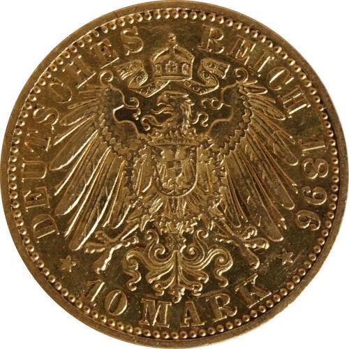 Rückseite :Deutschland : 10 Mark   1896 ss/vz.