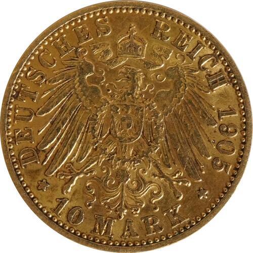Rückseite:Deutschland : 10 Mark   1905 ss/vz.