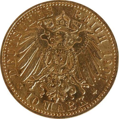 Rückseite:Deutschland : 10 Mark   1901 ss/vz.
