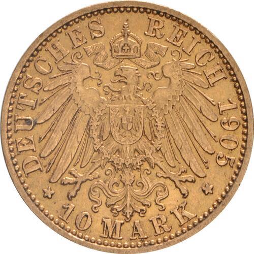 Rückseite:Deutschland : 10 Mark   1905 vz.