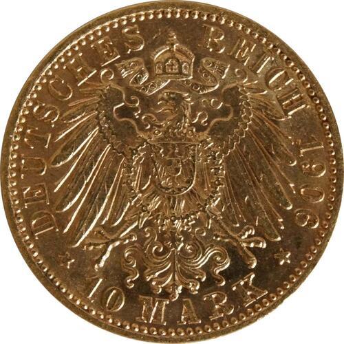 Rückseite:Deutschland : 10 Mark   1906 vz/Stgl.