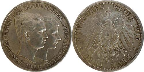 Lieferumfang:Deutschland : 3 Mark  winz. Rs. 1915 vz/Stgl.
