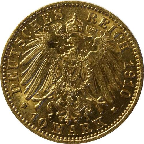 Rückseite:Deutschland : 10 Mark  winz. Kratzer 1910 vz.