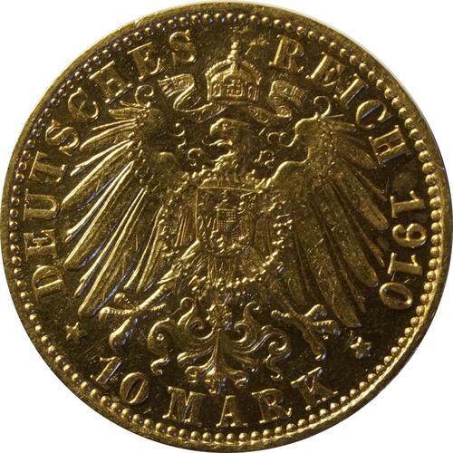 Rückseite:Deutschland : 10 Mark   1910 vz/Stgl.