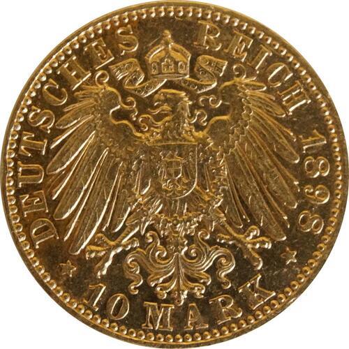 Rückseite:Deutschland : 10 Mark  winz. Kratzer 1898 vz.