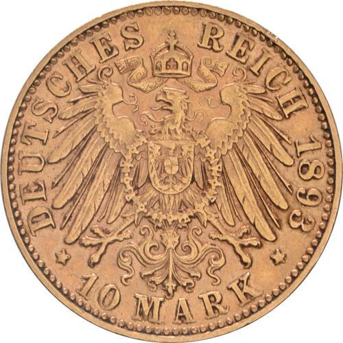 Rückseite:Deutschland : 10 Mark  winz. Kratzer 1893 ss/vz.