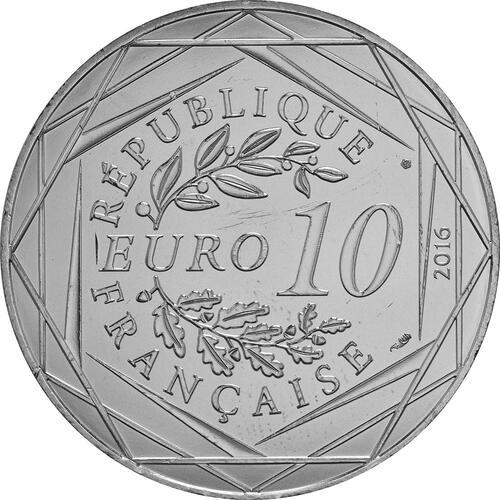 Rückseite:Frankreich : 10 Euro 15/24 Der kleine Prinz auf der Auto-Rennstrecke  2016 bfr