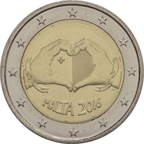 Rückseite :Malta : 2 Euro Solidarität durch Liebe  2016 bfr