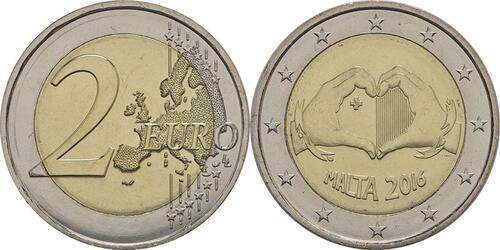 Lieferumfang :Malta : 2 Euro Solidarität durch Liebe  2016 bfr