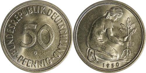 Lieferumfang :Deutschland : 50 Pfennig Kursmünze -fein- 1950 Stgl.