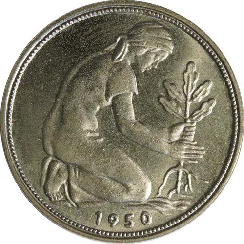 Rückseite:Deutschland : 50 Pfennig Kursmünze  1950 bfr