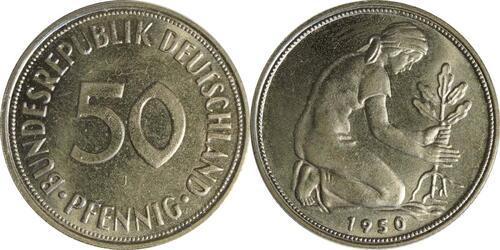 Lieferumfang:Deutschland : 50 Pfennig Kursmünze  1950 bfr