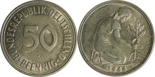 Lieferumfang :Deutschland : 50 Pfennig Kursmünze  1966 vz/Stgl.