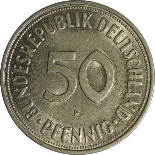 Vorderseite :Deutschland : 50 Pfennig Kursmünze  1966 vz/Stgl.