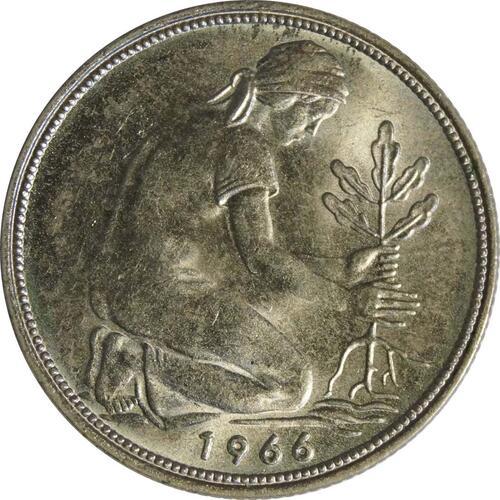 Rückseite :Deutschland : 50 Pfennig Kursmünze -fein- 1966 Stgl.