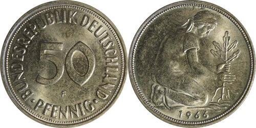 Lieferumfang :Deutschland : 50 Pfennig Kursmünze -fein- 1966 Stgl.