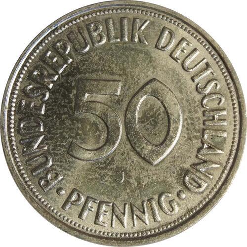 Vorderseite:Deutschland : 50 Pfennig Kursmünze  1966 Stgl.