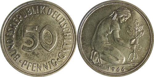 Lieferumfang:Deutschland : 50 Pfennig Kursmünze  1966 Stgl.