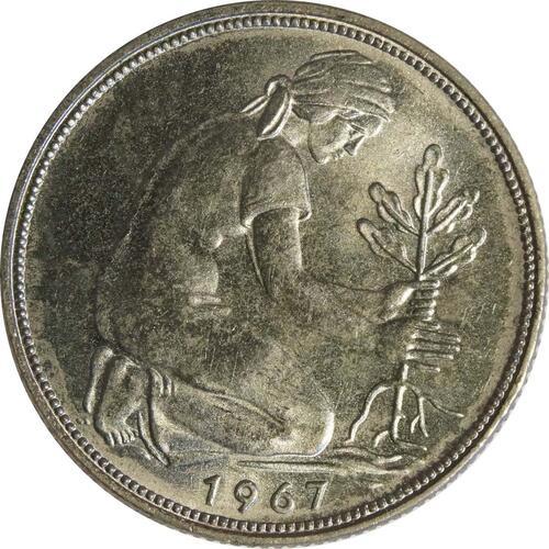 Rückseite:Deutschland : 50 Pfennig Kursmünze  1967 Stgl.