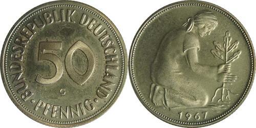 Lieferumfang :Deutschland : 50 Pfennig Kursmünze  1967 PP