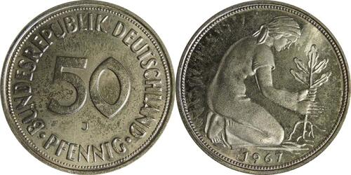 Lieferumfang :Deutschland : 50 Pfennig Kursmünze  1967 Stgl.