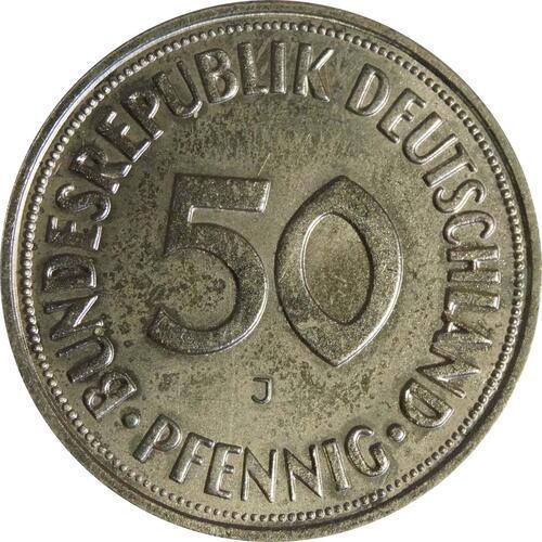Vorderseite:Deutschland : 50 Pfennig Kursmünze  1967 Stgl.
