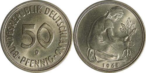 Lieferumfang:Deutschland : 50 Pfennig Kursmünze  1968 Stgl.