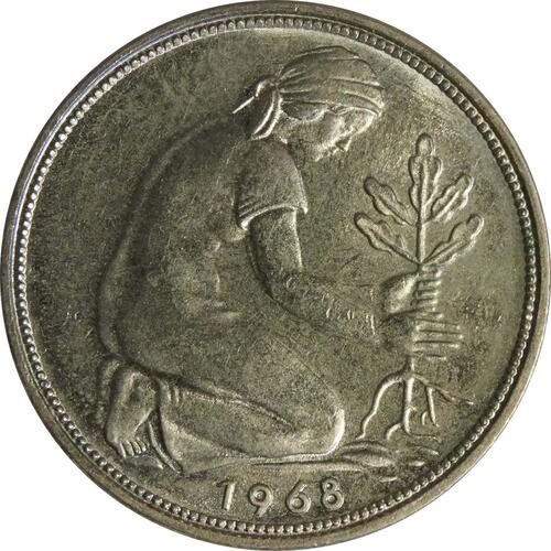 Rückseite :Deutschland : 50 Pfennig Kursmünze  1968 Stgl.