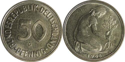 Lieferumfang :Deutschland : 50 Pfennig Kursmünze  1968 Stgl.