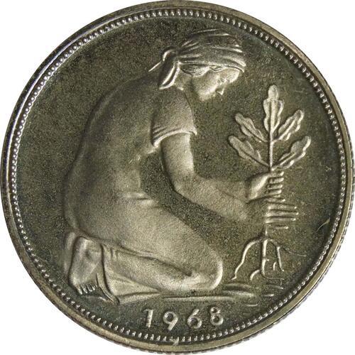 Rückseite :Deutschland : 50 Pfennig Kursmünze  1968 PP