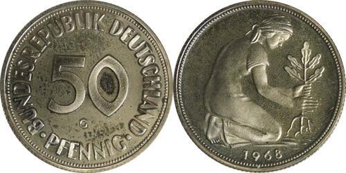 Lieferumfang :Deutschland : 50 Pfennig Kursmünze  1968 PP