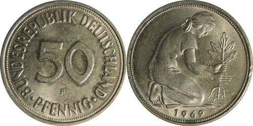 Lieferumfang :Deutschland : 50 Pfennig Kursmünze  1969 Stgl.