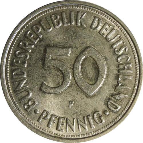 Vorderseite :Deutschland : 50 Pfennig Kursmünze  1969 Stgl.