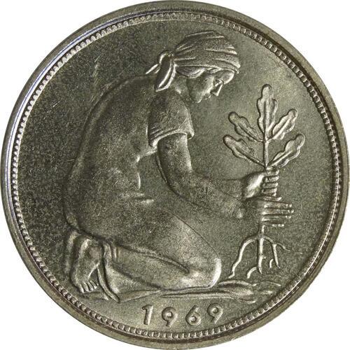 Rückseite:Deutschland : 50 Pfennig Kursmünze  1969 Stgl.