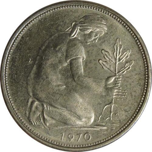 Rückseite:Deutschland : 50 Pfennig Kursmünze  1970 Stgl.