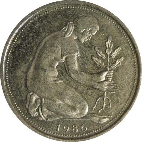 Rückseite:Deutschland : 50 Pfennig Kursmünze  1986 vz.
