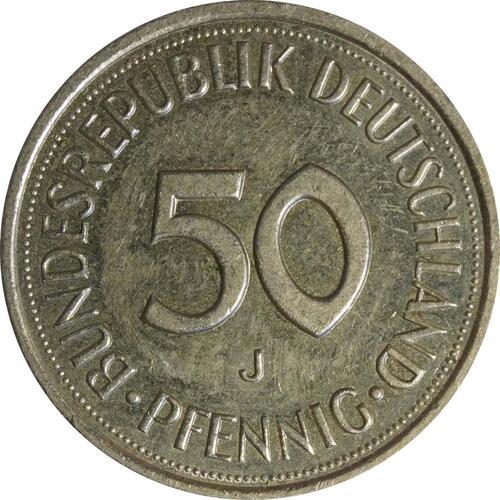 Vorderseite:Deutschland : 50 Pfennig Kursmünze  1986 vz.