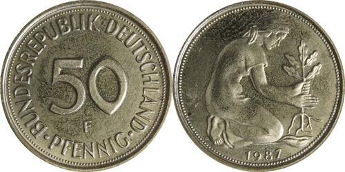 Lieferumfang:Deutschland : 50 Pfennig Kursmünze  1987 Stgl.