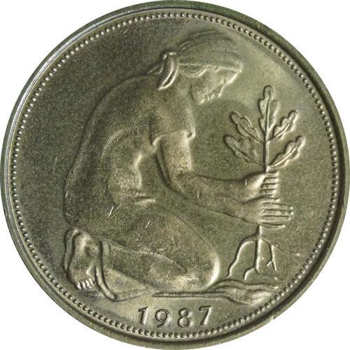 Rückseite :Deutschland : 50 Pfennig Kursmünze  1987 Stgl.