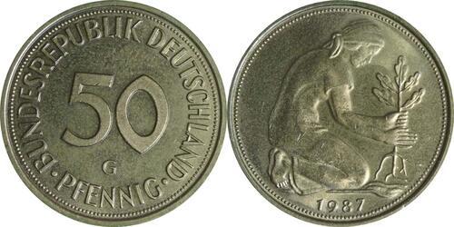 Lieferumfang :Deutschland : 50 Pfennig Kursmünze  1987 Stgl.
