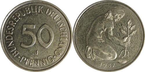 Lieferumfang:Deutschland : 50 Pfennig Kursmünze  1987 vz.