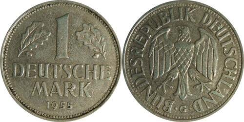 Lieferumfang:Deutschland : 1 DM Kursmünze  1955 ss.