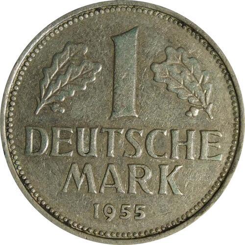 Vorderseite:Deutschland : 1 DM Kursmünze  1955 ss.
