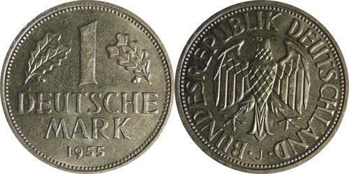 Lieferumfang:Deutschland : 1 DM Kursmünze -selten- 1955 vz/Stgl.