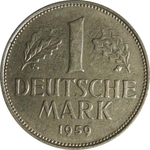 Vorderseite:Deutschland : 1 DM Kursmünze  1959 vz.