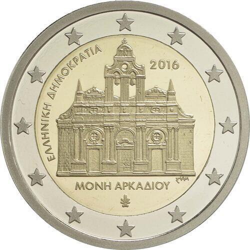 Rückseite :Griechenland : 2 Euro 150. Jahrestag der Brandstiftung im Arkadi-Kloster  2016 PP